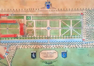 Plan des jardins du château des Périchons 1729/1744