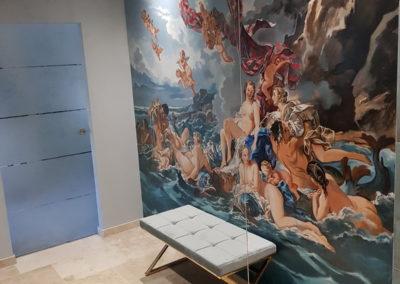 Suite Pompadour: fresque salle de bains
