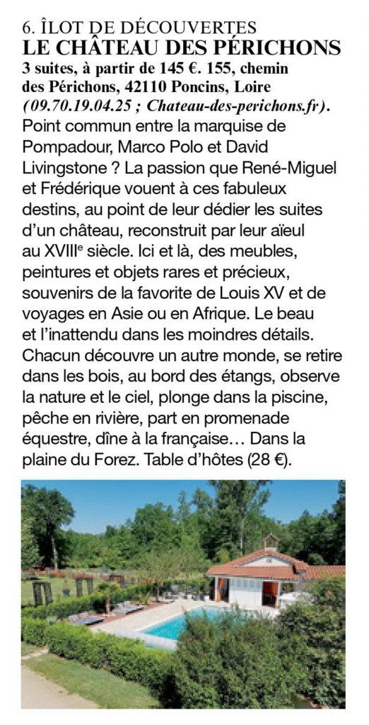 le figaro magazine a sélectionnné le chateau des Périchons dans son guide des plus belles chambres d'hôtes 2020