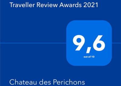 award 2021 booking.com pour le chateau des perichons